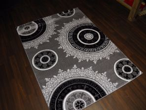 NEW GLITTER RANGE RUGS HAND CARVED APROX 6X4FT 120X170CM SILVER/BLACK GREAT RUG